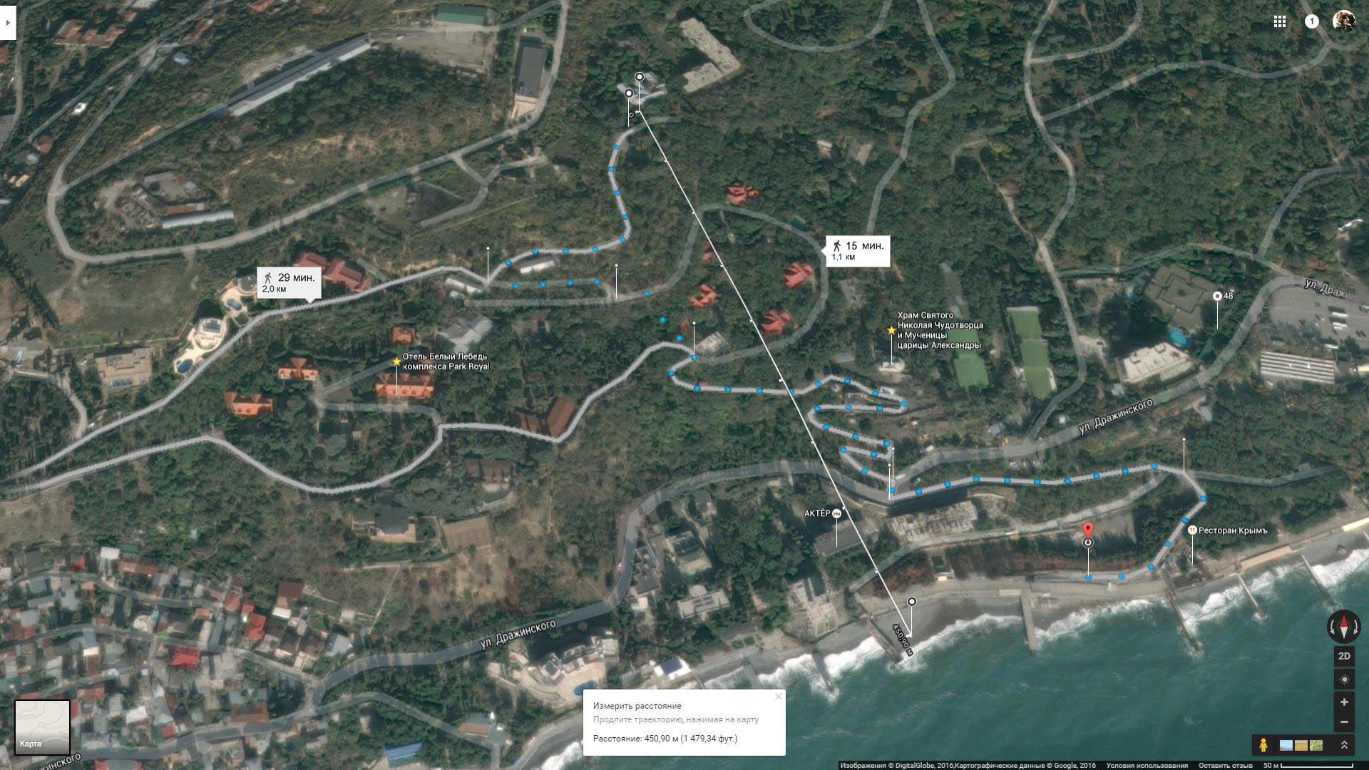 Схема-карта маршрута к морю Ялта. park-otel-yalta-map-to-sea